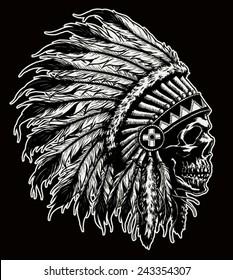 One color Indian skull vector illustration