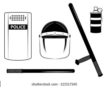 One color vector police set isolated on the white background