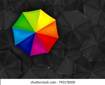 One colored umbrella and background of many black umbrellas - vector illustration