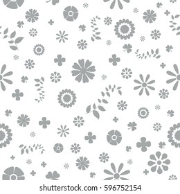 One Colour Spring Theme Seamless Pattern Background. Flat Flower Elements Design