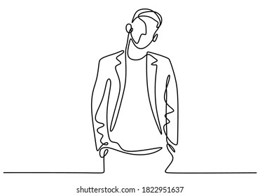 One continuous drawing line of handsome man wearing casual suit. Young male with men's jacket or blazer ready to go in party. Character the guy in elegant style. Vector sketch illustration