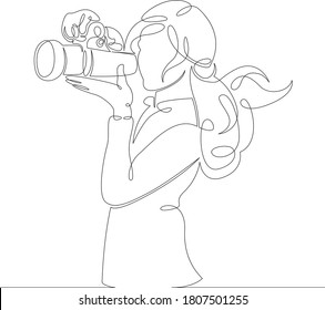 One continuous drawing line logo portrait the girl is shooting on a photo camera .Single hand drawn art line doodle outline isolated minimal illustration cartoon character flat