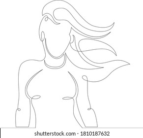 One continuous drawing line logo portrait woman girl with flying long hair.Single hand drawn art line doodle outline isolated minimal illustration cartoon character flat