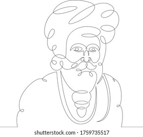 One continuous drawing line portrait of indian bearded brahman .Single hand drawn art line doodle outline isolated minimal illustration cartoon character flat