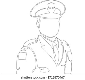One continuous drawing line Uniformed police officer. Male policeman in a cap .Single hand drawn art line doodle outline isolated minimal  illustration cartoon character flat