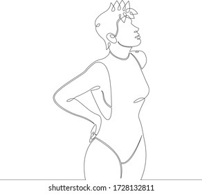 One continuous drawing line young beautiful girl in a swimsuit on the beach in the pool .Single hand drawn art line doodle outline isolated minimal illustration cartoon character flat