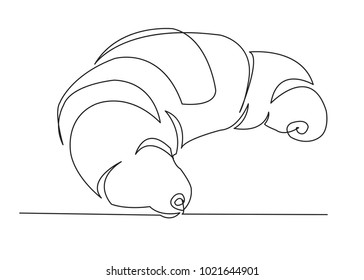 one continuous drawn croissant line drawn from the hand picture silhouette. Line art. croissant baked puff pastry