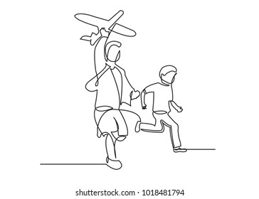 one continuous drawn line of a boy with an airplane drawn from the hand picture silhouette. Line art. character boy playing with airplane