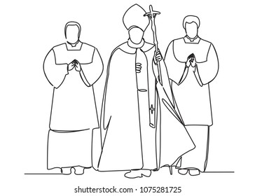 one continuous drawn line Catholic priest hand-drawn picture silhouette.Line art. single line