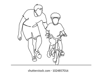 one continuous drawn line of dad teaches a child to ride a bicycle drawn by hand a picture of the silhouette. Line art. a man teaches a baby to ride a bike