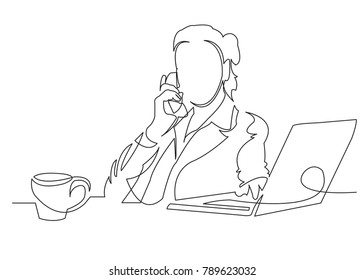 one continuous drawn line depicting a woman doing a hand-drawn picture of a silhouette. Line ars. character woman businessman