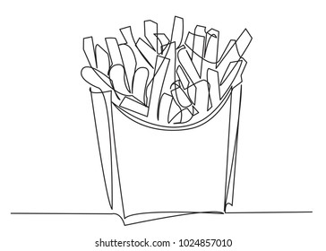one continuous drawn line of french fries drawn from the hand picture silhouette. Line art. fast food food potato cooked in flint