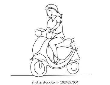 one continuous drawn line girl on a scooter drawn from a hand picture silhouette. Line art. fashionable girl on a moped