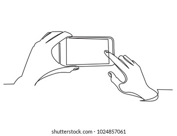 one continuous drawn line hand holding phone drawn by hand picture silhouette. Line art. phone in hand