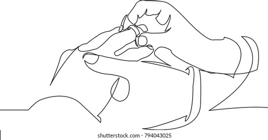 one continuous drawn line love marriage marriage symbol drawn by hand picture silhouette. line art. ring exchange ritual