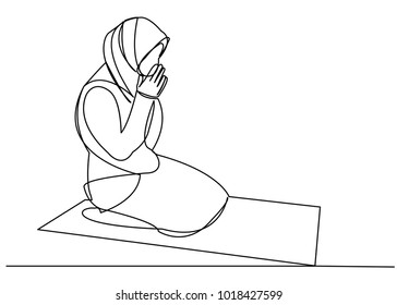 one continuous drawn line of a Muslim woman in prayer drawn by hand silhouette picture. Line art. character woman prays to Alah