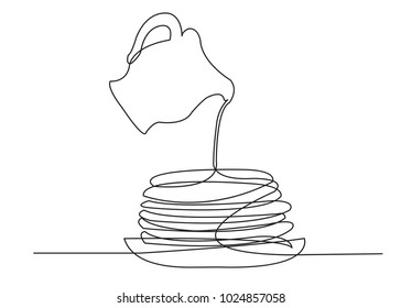 one continuous drawn line of pancakes on plates syrup-drawn hand-drawn picture silhouette. Line art. carnival, pancakes