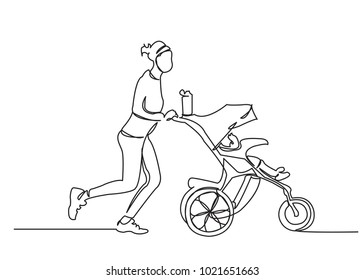 one continuous drawn line running with a stroller drawn from the hand a picture of the silhouette. Line art. character female girl running around with a stroller exercising with a newborn baby