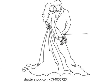 one continuous drawn line wedding drawn from the hand picture silhouette. line art. The characters of the bride and groom of the husband and wife are married