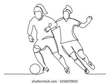one continuous drawn line of a woman soccer player from a hand picture silhouette. Line art. character of a woman hitting the ball
