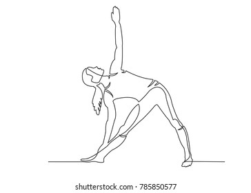 one continuous drawn line of yoga drawn from the hand picture silhouette. Line art. character female athlete