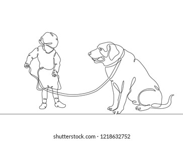 One continuous drawn single art line doodle sketch character is a nice little cute child, small child, sweet baby. Children's character with a dog on a leash, walk