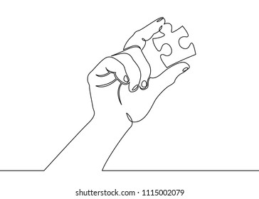 One continuous drawn single hand palm hand holding puzzle. Concept solution, piece, idea, puzzle, problem, connection, abstract. Hands solving jigsaw puzzle
