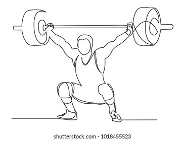 one continuous drawn weightlifter line drawn from the hand a picture of the silhouette. Line art. character male athlete lifting barbell