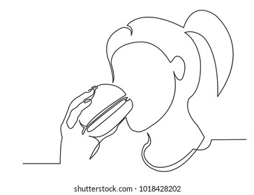 one continuous girl line drawn biting a hamburger drawn from the hand a picture of the silhouette. Line art. character woman eating fast food