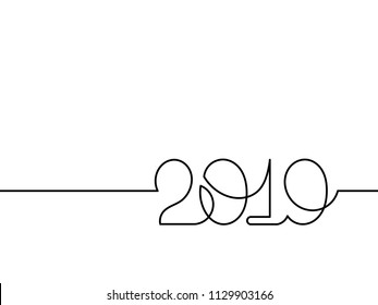 One continuous line drawing 2019. Vector new year illustration isolated on white background.