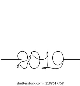 One continuous line drawing 2019. Vector new year illustration isolated on white background