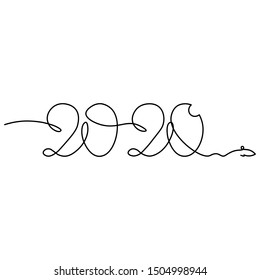 One continuous line drawing 2020. Vector new year illustration isolated on white background.
