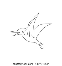 One continuous line drawing of aggressive pterodactyl prehistory animal for logo identity. Dinosaurs mascot concept for prehistoric museum icon. Single line draw design vector illustration