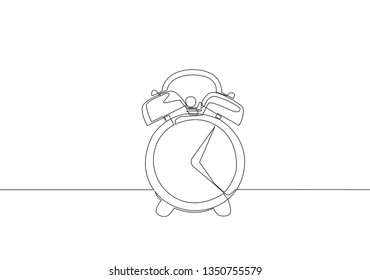 One continuous line drawing of alarm clock. Time concept single line draw design illustration