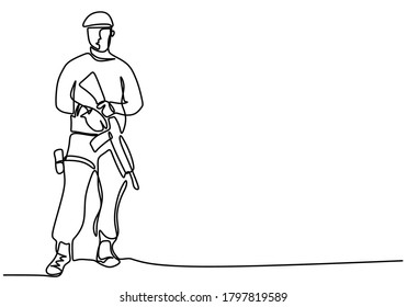 One continuous line drawing of army with uniform. Soldier army man with uniform and rifle gun hand drawn on white background. Military concept minimalism design. Vector illustration