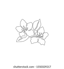One continuous line drawing of beauty fresh azalea for home decor wall art poster print. Decorative rhododendron flower concept for wedding invitation card. Single line draw design vector illustration
