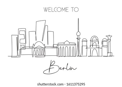 One continuous line drawing Berlin city skyline. Beautiful city skyscraper landscape. World home decor wall art poster art tourism travel vacation concept. Single line draw design vector illustration