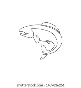 One continuous line drawing of big salmon for fishing logo identity. Fish mascot concept for fast food can icon. Single line draw design vector graphic illustration