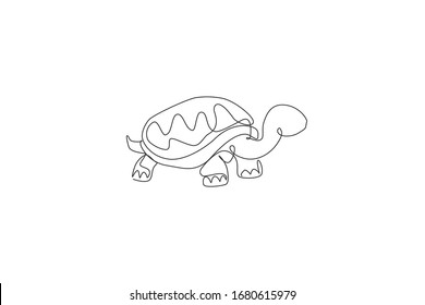 One continuous line drawing of big cute tortoise in Galapagos island. Wild animal national park conservation. Safari zoo concept. Dynamic single line draw design graphic vector illustration