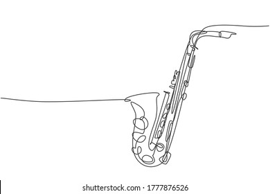 One continuous line drawing of classical saxophone. Wind music instruments concept. Modern single line graphic draw design vector illustration