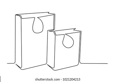 One continuous line drawing. Close-up. Packages for shopping two pieces. Paper bags. shopping bag. Contemplation drawing a thin black line on a white background.