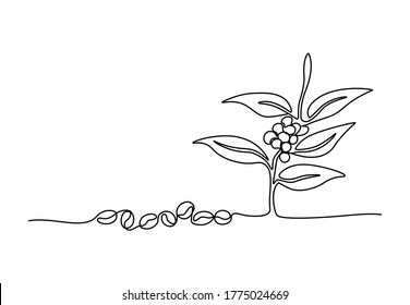 One continuous line drawing of coffee beans and leaves for plantation logo identity. Coffee leaf icon, cafe shop concept. Modern single line draw design vector illustration