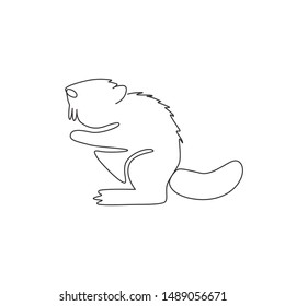 One continuous line drawing of cute beaver for logo identity. Mammal animal mascot concept for national park icon. Single line draw design vector illustration