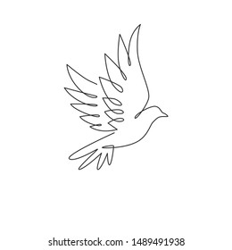 One continuous line drawing of cute flying dove bird for logo identity. Peace and freedom symbol mascot concept for national labor movement icon. Single line draw design vector illustration graphic