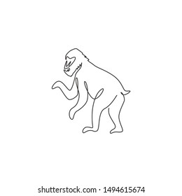 One continuous line drawing of cute mandrill for company logo identity. Big exotic monkey mascot concept for national zoo icon. Modern single line draw design vector illustration