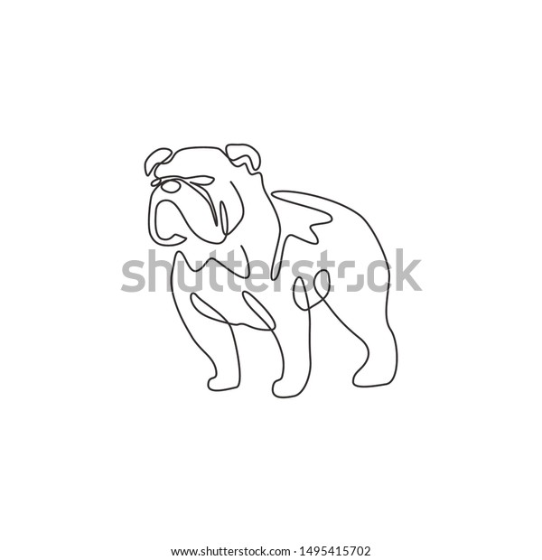 One Continuous Line Drawing Dashing Bulldog Stock Vector Royalty Free 1495415702