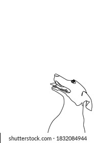 One continuous line drawing, dog smile