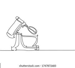 One continuous line drawing of electric stand mixer home appliance for making bakery batter. Electricity household gadget template concept. Trendy single line draw design vector graphic illustration