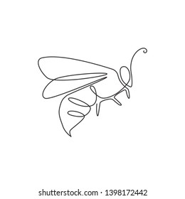 One continuous line drawing of elegant bee for company logo identity. Organic honey farm icon concept from insect animal shape. Single line draw design illustration