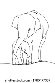 One continuous line drawing,  elephant walking with baby